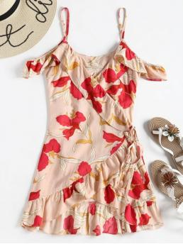 No Summer Floral Flounce Short Spaghetti Mini Wrap A-Line Beach and Casual and Vacation Bohemian Cold Shoulder Floral Summer Wrap Dress