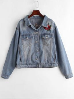 No Autumn and Spring Embroidery Animal and Floral and Letter Shirt Full Regular Wide-waisted Fashion Jackets Daily and Going Denim Embroidered Button Up Jacket
