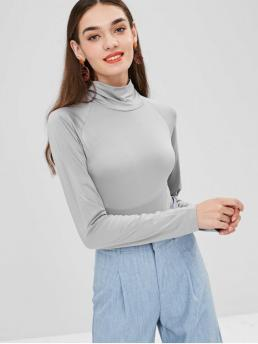 Fall and Spring Solid Elastic Raglan Long Turtlecollar Fashion Daily Turtleneck Snap-button at The Gusset Bodysuit