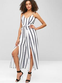 Summer Yes Striped Sleeveless Spaghetti Loose Casual Daily Striped Slit Wide Leg Jumpsuit