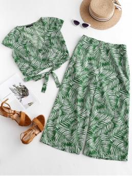 Summer Leaf Flat Zipper High Short V Loose Casual Casual Leaves Wrap Top and Loose Pants Set