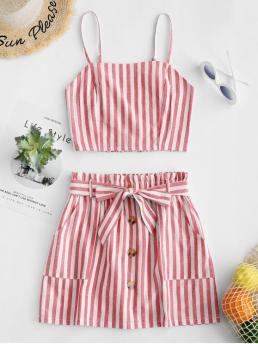 Yes Summer Belted and Button Striped Flat Elastic High Sleeveless Spaghetti A Casual Casual and Going Smocked Striped Top and Belted Skirt Set