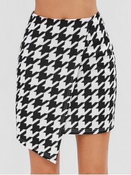 Fall and Spring and Summer Zipper Houndstooth Bud Mini Daily and Going Fashion Houndstooth Print Overlay Mini Skirt