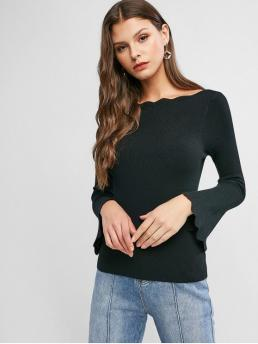 Autumn Scalloped Solid Elastic Full Flare Boat Regular Slim Fashion Daily and Going Pullovers Scalloped Flare Sleeve Boat Neck Slim Sweater