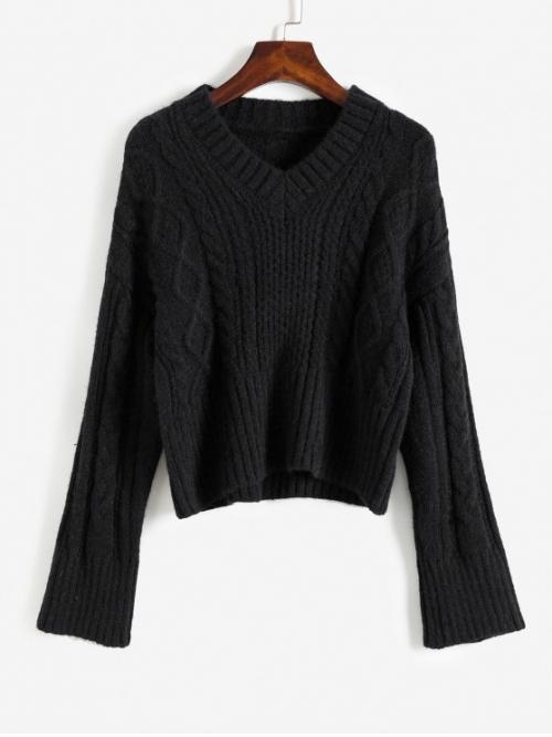 Autumn and Winter Solid Elastic Full V-Collar Short Loose Cute Daily Pullovers V Neck Cable Knit Sweater