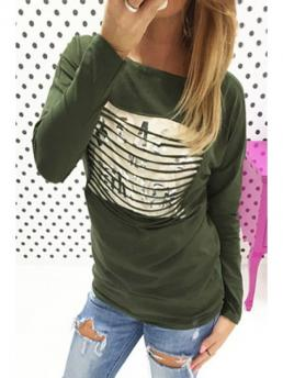 Letter Full Scoop Casual Letters Print Scoop Neck Long Sleeve T-Shirt