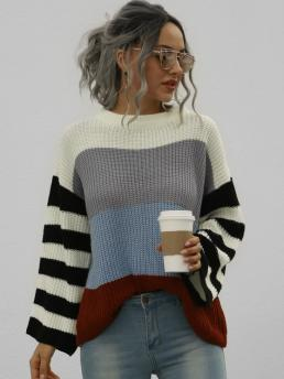 Full Sleeve Pullovers Polyester Striped Stripes Crew Neck Sweater on Sale