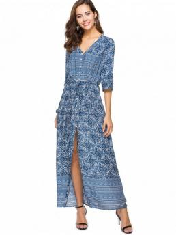 Summer No Print 3/4 Ankle-Length V-Collar A-Line Casual  and Day and Going Brief Printed Button Up Slit Maxi Dress