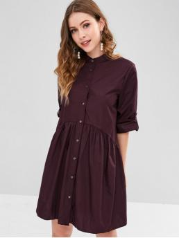 No Fall and Spring and Summer Solid 3/4 Stand Knee-Length A-Line Work Office Roll Tab Sleeve Smock Shirt Dress