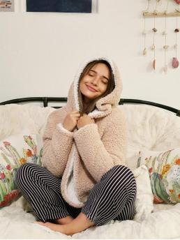 Winter Solid Hooded Full Short Wide-waisted Coat Daily Cute x Alexis Ricecakes Hooded Reversible Teddy Coat