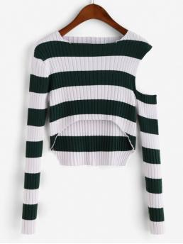 Autumn and Winter Cut Striped Super-elastic Full Cold Round Short Slim Fashion Daily Pullovers Striped Ribbed Open Shoulder Cropped Sweater
