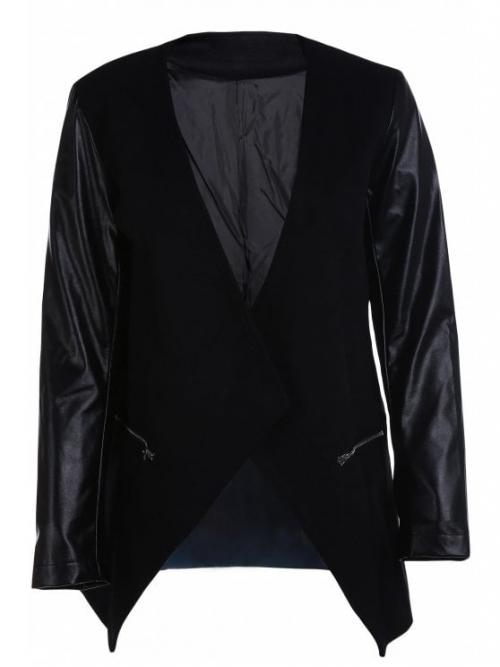 No Fashion Spliced Solid Collarless Full Wide-waisted Trench Open Front PU Leather Sleeve Trench Coat