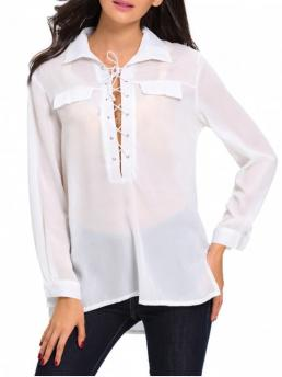 Fall Solid Shirt Full Long Fashion Lace Up High Low See Through Shirt