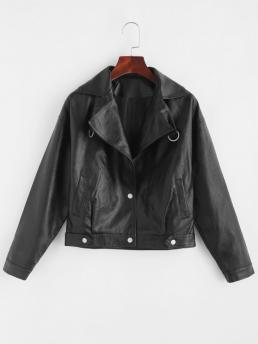 Full Sleeve Wide-waisted Cotton,polyester Solid Faux Leather Snap Button Biker Jacket Shopping