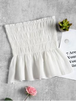 Standard Ruffles Solid Strapless Regular Fashion Ruffles Smocked Tube Top