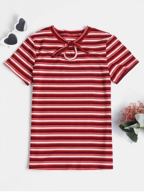 Spring Striped Bowknot and Cut Short Bow Casual Knotted Striped Knit Tee