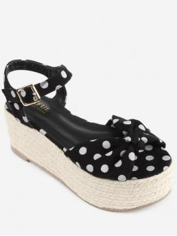 7CM Spring/Fall Cloth Casual Bowknot Platform Round Open Ankle Bowknot Polka Dot Espadrille Platform Sandals