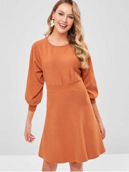 No Fall and Spring Solid 3/4 Round Knee-Length A-Line Casual  and Day Fashion Dolman Sleeves Cut Out Knit Dress