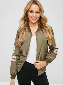 Autumn and Spring and Winter Letter Stand-Up Full Regular Wide-waisted Casual Jackets Printed Windproof Baseball Jacket