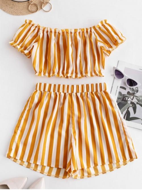 No Summer Striped Flat Elastic High Nonelastic Short Off Regular Fashion Beach Striped Off Shoulder Top And Shorts Set