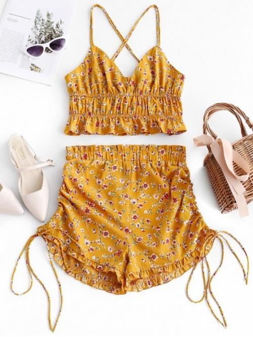 No Summer Criss-Cross and Ruffles and Strappy Floral Flat Elastic High Nonelastic Sleeveless Spaghetti Regular Fashion Beach Floral Criss Cross Top And Cinched Shorts Set