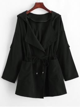 Autumn Pockets Solid Hooded Drop Full Long Wide-waisted Daily Casual Solid Color Drawstring Hooded Coat