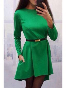 Fall No Solid Long Round Asymmetrical Mini Cute High Low Hem Round Collar Pure Color Dress