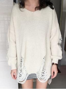 Fall and Winter Solid Casual V-Collar Full Pullovers Loose High Low Ripped Pullover Sweater