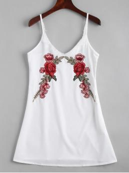 Summer No Floral Embroidery Sleeveless Spaghetti Slip Mini Club and Going Lace Panel Floral Embroidered Slip Dress