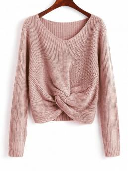 Solid Full V-Collar Fashion Pullovers V Neck Twist Chunky Sweater