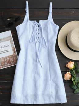 Light Blue Spring and Summer No Striped Lace Sleeveless Spaghetti Mini A-Line Casual and Going Casual Striped Lace Up Mini Cami Dress