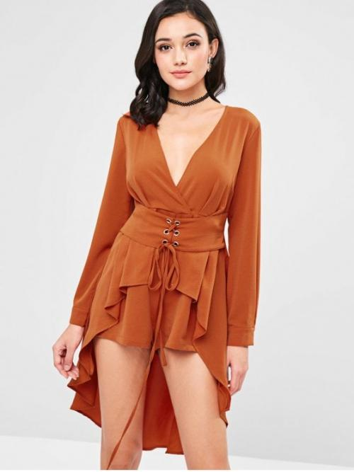 Fall and Spring No Lace Solid Long V-Collar Regular Fashion Daily Lace Up Surplice Skirted Romper