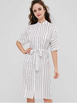 Yes Fall and Summer Striped Button 1/2 Stand Mid-Calf Shirt A-Line Day and Work Fashion Striped Midi Shirt Dress