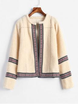 Winter No Others Collarless Full Regular Slim Daily and Going Fashion Open Front Fluffy Faux Shearling Coat