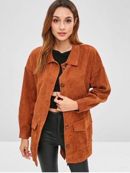 Yes Autumn and Winter Solid Shirt Drop Full Long Wide-waisted Corduroy Fashion Jackets Daily Corduroy Tunic Shirt Jacket with Belt