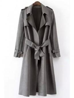 Yes Adjustable Solid Lapel Full Slim Trench Fashion Faux Leather Lapel Long Sleeve Coat