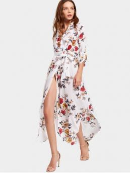 Fall and Spring Yes Floral Long Ankle-Length Plunging Asymmetrical Casual and Going Brief Floral Print High Slit Belted Asymmetric Dress