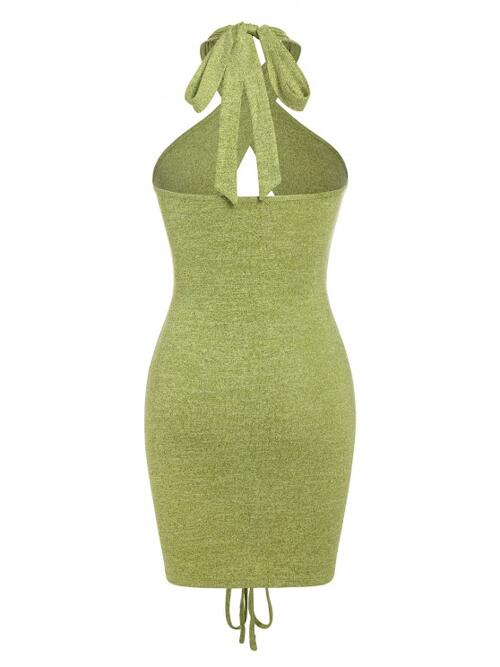 Green Solid Sleeveless Polyester Jersey Cut out Cinched Slit Slinky Dress on Sale