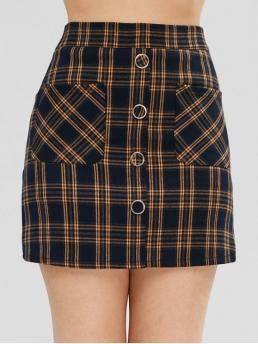 No Fall and Spring and Winter Zipper Pockets Plaid A-Line Mini Daily and Going Fashion Plaid Short Pocket Skirt