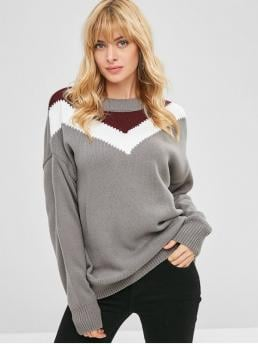 Autumn and Spring and Winter Striped Elastic Full Drop Round Regular Loose Fashion Daily Pullovers Pullover Drop Shoulder Stripes Panel Sweater