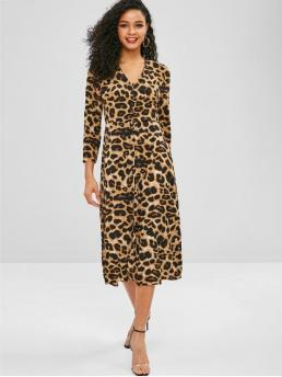No Spring Leopard Long V-Collar Mid-Calf A-Line Casual  and Day Casual Leopard Button Up V Neck Dress