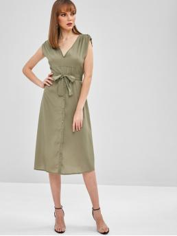 Yes Summer Solid Short Plunging Mid-Calf A-Line Casual and Day Brief Midi Plunge A Line Belted Dress