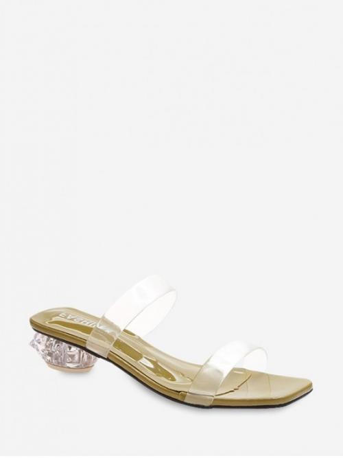 Summer Rubber Solid Slip-On Chunky Slides Casual Casual For Chunky Heel Transparent Sandals