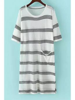 Summer No Striped Short Round Mid-Calf Straight Casual Jewel Neck Stripe Pocket Short Sleeve Dress