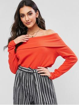 Autumn Solid Full Off Casual Off Shoulder Overlay Solid Tee