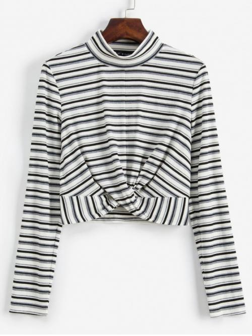 Autumn Striped Full Stand-Up Short Casual Striped Twist Front Crop Long Sleeves Tee