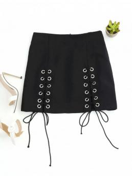 Summer Zipper Solid A-Line Mini Daily Fashion Punk Lace Up Mini Skirt