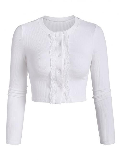 Shopping Full Sleeve Cotton,polyester Solid Color White Ribbed Panel Crop Tee