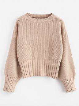 Autumn and Winter Solid Elastic Full Drop Crew Short Regular Fashion Daily Pullovers Chunky Crop Sweater