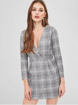 Fall and Spring and Winter No Plaid Button Long Plunging A-Line Mini Casual and Work Work Double Breasted Plaid Blazer Dress